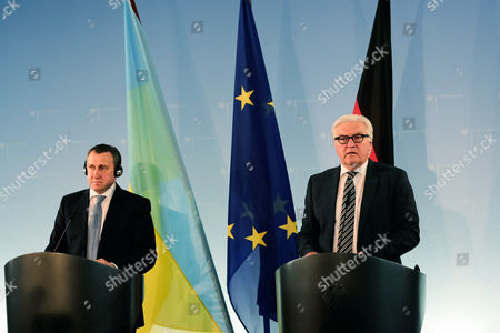 Andrii Deshchytsia, Frank-Walter Steinmeier German Foreign Minister Frank-Walter Steinmeier, right, and his Ukrainian counterpart Andrii Deshchytsia brief the media after a meeting at the foreign ministry in Berlin,Germany
