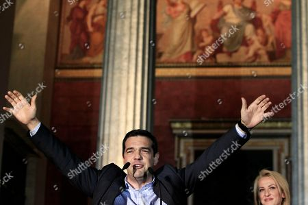Alexis Tsipras, Rena Dourou Main opposition leader Alexis Tsipras, left, speaks to his supporters as the new regional governor of Attica Rena Dourou watches in Athens early . The left-wing opposition Syriza party has succeeded in capturing first place in Greece's election for the European Parliament, leading conservative New Democracy by about 3.5 percent. The radical left party, which has been fiercely critical of the austerity policies pursued since 2010 by the heavily indebted country and imposed by its creditors, claimed an important victory in Greece's local and regional elections that took place simultaneously by winning the Attica region, where almost 30 percent of all Greek voters are registered