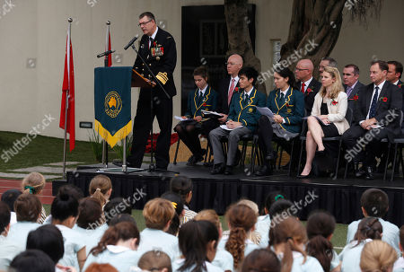 Ray Griggs Chief of the Royal Australian Navy, Vice Admiral Ray Griggs, left, speaks during the Anzac Day service at the Australian International School in Hong Kong, commemorating the anniversary of the first major military action fought by Australian and New Zealand Army Corp during the First World War