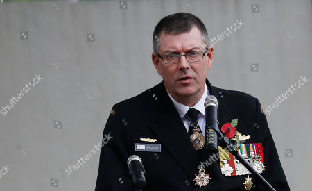 Ray Griggs Chief of the Royal Australian Navy, Vice Admiral Ray Griggs, speaks during the Anzac Day service at the Australian International School in Hong Kong, commemorating the anniversary of the first major military action fought by Australian and New Zealand Army Corp during the First World War