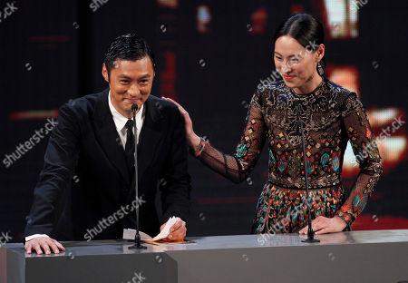 Isabella Leong, Shawn Yue Hong Kong actor Shawn Yue, left, and actress Isabella Leong react during the presentation ceremony at the 33rd Hong Kong Film Awards in Hong Kong