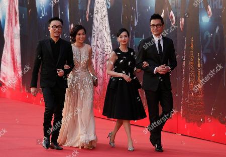 Ronald Cheng, Sammie Yu, Teresa Mo, Gordon Lam From left, Hong Kong actor Ronald Cheng and his wife Sammie Yu walk with Hong Kong actress Teresa Mo and Hong Kong actor Gordon Lam on the red carpet of the 33rd Hong Kong Film Awards in Hong Kong