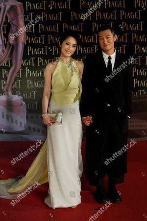 Shawn Yue, Miriam Yeung Hong Kong actor Shawn Yue and Miriam Yeung pose on the red carpet of the 33rd Hong Kong Film Awards in Hong Kong