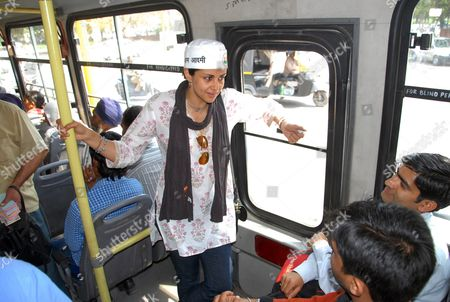 Gul Panag Aam Aadmi Party, or Common Man Party, nominee and former Miss India Gul Panag campaigns on a public bus in Chandigarh, India, . India will hold national elections from April 7 to May 12, kicking off a vote that many observers see as the most important election in more than 30 years in the world's largest democracy. The upstart AAP had a surprisingly strong showing in local elections late last year