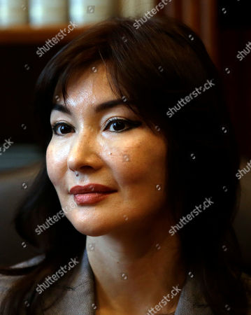 Stock Photo of Kazakh dissident Mukhtar Ablyazov's wife Alma Shalabayeva meets the journalists during a press conference in Rome, Thursday, April 2014. Shalabayeva has arrived in Italy on Dec. 2013, with her young daughter seven months after they were improperly deported back to Kazakhstan in a case that fueled tensions in Italy's fragile government