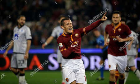 Stock Picture of Roma's Rodrigo Taddei celebrates after scoring during a Serie A soccer match between Roma and Atalanta in Rome's Olympic stadium
