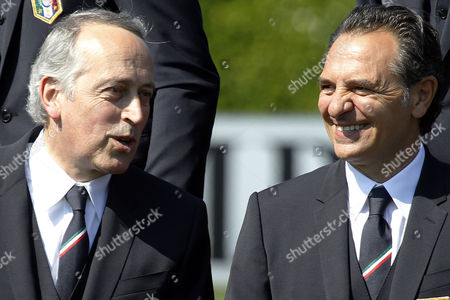 Cesare Prandelli, Giancarlo Abete Italy coach, Cesare Prandelli, right, speaks with Giancarlo Abete, president of the Italian Soccer Federation, at the Coverciano center, near Florence, Italy
