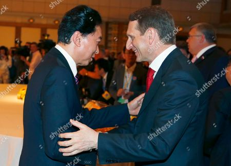 Sergei Naryshkin, Yukio Hatoyama Russian lower house speaker Sergei Naryshkin, right, is greeted by former Japanese Prime Minister Yukio Hatoyama during the opening ceremony of the annual Russia Cultural Festival in Tokyo . Naryshkin, a close ally of Russian President Vladimir Putin, was not listed in Japan's travel ban on Russian leaders unlike the ones imposed by the U.S. and the European Union that include him following Russia's seizure of Crimea