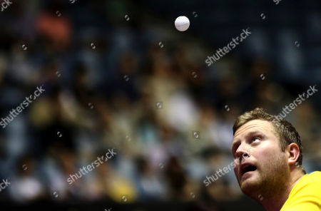 Jens Lundqvist Jens Lundqvist of Sweden watches the ball during his best eight playoff match of the World Team Table Tennis Championships against Yang Zi of Singapore in Tokyo