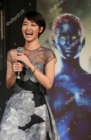 Ayame Goriki Japanese actress Ayame Goriki, right, who does Japanese stand-in for Mystique in the Japanese version of the movie, laughs during the Japan Premiere of X-Men Days Of Future Past in Tokyo