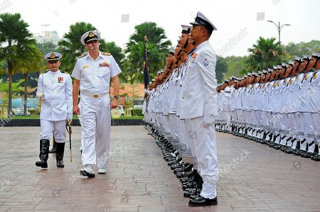Vice Admiral Ray Griggs Chief of the Royal Australian Navy, Vice Admiral Ray Griggs, second from left, inspects a guard of honor at the Ministry of Defense in Kuala Lumpur, Malaysia, . Vice Adm. Griggs is on a four-day official visit to Malaysia