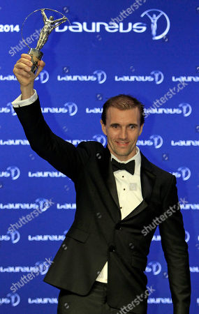 Stock Image of Jamie Bestwick Britain's BMX rider Jamie Bestwick displays his World Action Sportsperson of the Year trophy as he poses for photos during the Laureus World Sports Awards in Kuala Lumpur, Malaysia