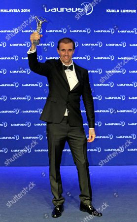 Jamie Bestwick Britain's BMX rider Jamie Bestwick holds up his World Action Sportsperson of the Year trophy as he poses for photos during the Laureus World Sports Awards in Kuala Lumpur, Malaysia