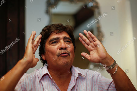 """Celso Pina Mexican cumbia genre singer, composer and accordionist Celso Pina speaks during an interview in Mexico City, . Pina is promoting his record """"Aqui Presente Compa"""" which pays homage to the late Colombian writer Gabriel Garcia Marquez"""