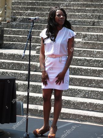 "Concha Buika Spain's singer Concha Buika attends a ceremony unveiling her plaque at the Paseo de las Lunas outside the National Auditorium in Mexico City, . Buika will perform songs from her latest album ""La noche más larga"" at the Lunario of the National Auditorium on Thursday"