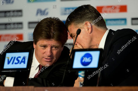 Miguel Herrera, Hector Gonzalez Mexican soccer team head coach Miguel Herrera, left, talks to Director of National Selection Hector Gonzalez, during a press conference to announce the names of the players selected for Mexico's 2014 Brazil World Cup team, at a press conference in Mexico City