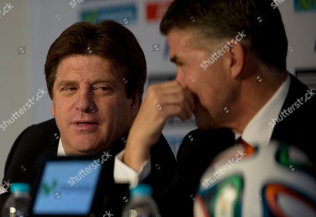 Miguel Herrera, Hector Gonzalez Mexican soccer team head coach Miguel Herrera, left, talks to Director of National Selection Hector Gonzalez, at a press conference to announce the roster of Mexico's 23-player squad for the upcoming World Cup in Brazil, at a press conference in Mexico City