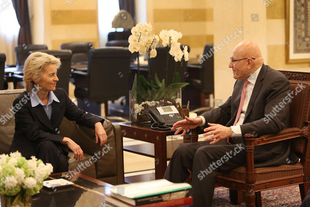Ursula von der Leyen, Tamam Salam German Defense Minister Ursula von der Leyen, left, meets with Lebanese prime minister Tamam Salam, right, at the Lebanese government palace, in Beirut, . Leyen is in Lebanon to meet with the Lebanese officials and to visit to the German UNIFIL navy troops