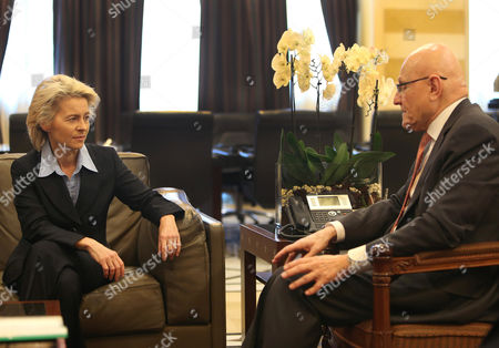 Ursula von der Leyen, Tamam Salam German Defense Minister Ursula von der Leyen, left, meets with Lebanese prime minister Tamam Salam, right, at the government palace in Beirut, .Leyen is in Lebanon to meet with Lebanese officials and to visit to the German UNIFIL navy service members