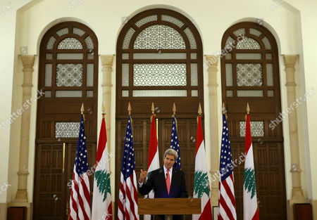 John Kerry U.S. Secretary of State John Kerry speaks during a press conference after his meeting with Lebanese Prime Minister Tamam Salam, at the government palace, in Beirut, Lebanon, . U.S. Secretary of State John Kerry is on an unannounced trip to Lebanon to bring Obama administration support to the country's government as it confronts severe difficulties, with an influx of refugees from next door in Syria and a political stalemate at home