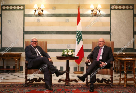 Amam Salam, Frank-Walter Steinmeier Lebanese Prime Minister Tamam Salam, right, meets with German Foreign Minister Frank-Walter Steinmeier, left, at the government palace, in Beirut, Lebanon, . Steinmeier arrived to Lebanon Thursday for a two day visit to meet with Lebanese officials