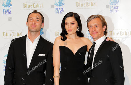 Jeremy Gilley, Jude Law, Jessie J English actor, filmmaker and founder of the nonprofit organisation Peace One Day, Jeremy Gilley, right, poses with English actor Jude Law, left, and English singer Jessie J, before the Peace One Day gala in Monaco