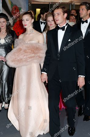 Pierre Casiraghi, the son of Princess Caroline of Hanover, with his girlfriend countess Beatrice Boromeo, arrive at the Rose Ball, which is celebrating the 50th anniversary of the Princess Grace Foundation, in Monaco