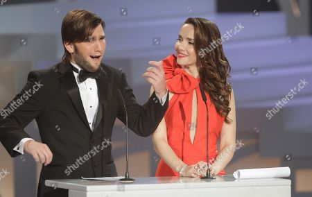 Natalia Oreiro, Lucas Vidal Uruguay's actress Natalia Oreiro, right, and Spain's actor Lucas Vidal present the best musical score award during the first edition of the Platino Ibero-American Cinema Awards at the Anayansi theater in Panama City