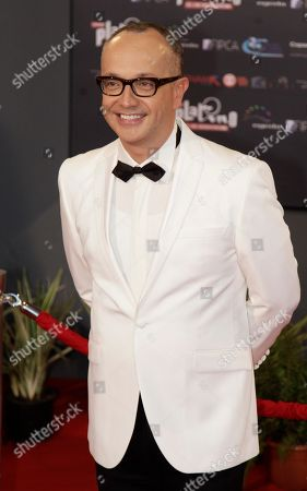 Juan Carlos Arciniegas Colombia's entertainment journalist Juan Carlos Arciniegas arrives at the first edition of the Platino Ibero-American Cinema Awards at the Anayansi theater in Panama City