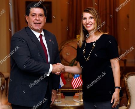 Horacio Cartes, Heather Higginbottom Paraguay's President Horacio Cartes, left, shakes hands with Heather Higginbottom, U.S. Vice Secretary of State for Organisation of American States, (OAS) 44th General Assembly, in Asunción, Paraguay, . The General Assembly will be held from June 3 to 5