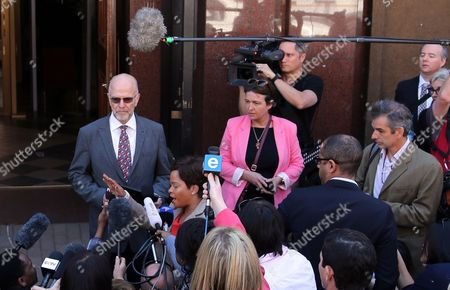 Oscar Pistorius Oscar Pistorius's uncle Arnold Pistorius, bfacing camera left, reads a statement outside the high court in Pretoria, South Africa, . Oscar Pistorius is charged with murder for the shooting death of his girlfriend, Reeva Steenkamp, on Valentines Day in 2013. A judge ruled on Wednesday, that Oscar Pistorius be sent for psychiatric observation
