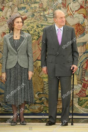Queen Sofia of Spain, King Juan Carlos of Spain Queen Sofia of Spain, left, and King Juan Carlos of Spain before the imposed the Grand Cross of the Royal Order of Sporting Merit to Spanish paralympic swimmer Maria Teresa Perales at Zarzuela Palace in Madrid, Spain on