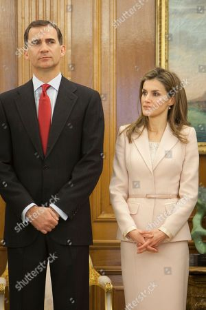 Princess Letizia of Spain, Prince Felipe of Spain Prince Felipe of Spain and Princess Letizia of Spain during the imposition of the Grand Cross of the Royal Order of Sporting Merit to the Spanish Paralympic swimmer Maria Teresa Perales at Zarzuela Palace in Madrid, Spain on