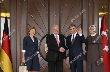 Joachim Gauck, Abdullah Gul, Daniela Schadt, Hayrunnisa Gul German President Joachim Gauck, second left, his Turkish counterpart Abdullah Gul, second right, their wives Daniela Schadt, left, and Hayrunnisa Gul pose for cameras during a ceremony at the Cankaya Palace in Ankara, Turkey, . Guack is on a four-day visit to Turkey