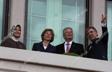 Joachim Gauck, Abdullah Gul, Daniela Schadt, Hayrunnisa Gul German President Joachim Gauck, second right, his Turkish counterpart Abdullah Gul, right, their wives Daniela Schadt, second left, and Hayrunnisa Gul watch the city center after a ceremony at the Cankaya Palace in Ankara, Turkey, . Guack is on a four-day visit to Turkey