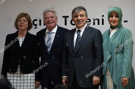 Joachim Gauck, Abdullah Gul, Daniela Schadt, Hayrunnisa Gul German President Joachim Gauck, second left, his Turkish counterpart Abdullah Gul, second right, Gauck's partner Daniela Schadt, left, and Gul's wife Hayrunnisa Gul attend the opening ceremony of Turkish-German University in Istanbul, Turkey, . Gauck is on a four-day visit to Turkey