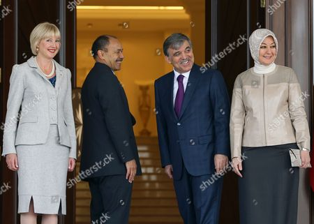 Janine Grenside, Hayrunnisa Gul, Sir Jerry Mateparae, Abdullah Gul Janine Grenside, left, the wife of Gen. Sir Jerry Mateparae, Governor-General of New Zealand, second left, Hayrunnisa Gul, right, the wife of Turkish President Abdullah Gul, second right, pose for cameras at the Cankaya Palace in Ankara, Turkey, . Sir Jerry Mateparae is in Turkey for the annual Anzac Day commemoration in Gallipoli