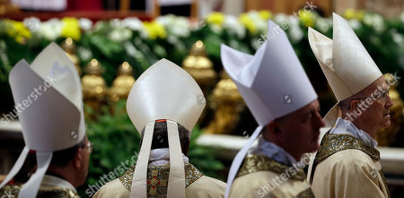 Cardinal Tarcisio Bertone attends the Episcopal Ordination of Mons. Fabio Fabene presided by Pope Francis in St. Peter's Basilica, at the Vatican
