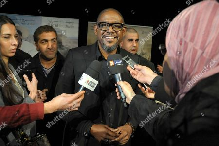 """US actor Forest Whitaker talks to the media at the premiere of the film """"Two Men in Town"""" in Algiers, . The film also stars Harvey Keitel, Ellen Burstyn, Dolores Heredia, Luis Guzman and Brenda Blethyn"""