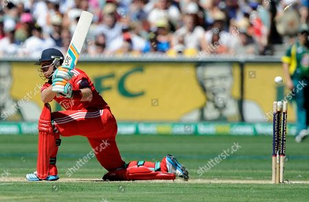 England's Ian Bell is bowled by Australia's Xavier Doherty during their one-day international cricket match, at the Melbourne Cricket Ground in Melbourne, Australia