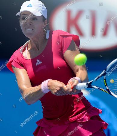 Galina Voskoboeva of Kazakhstan makes a backhand return to Carla Suarez Navarro of Spain during their second round match against at the Australian Open tennis championship in Melbourne, Australia