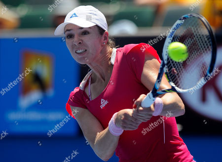 Galina Voskoboeva of Kazakhstan makes a backhand return to to Carla Suarez Navarro of Spain during their second round match against at the Australian Open tennis championship in Melbourne, Australia