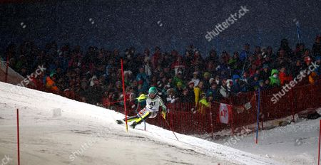 Felix Neureuther of Germany competes during the second run of an alpine ski men's World Cup Slalom in Kitzbuehel, Austria, . Felix Neureuther won the slalom of the classic Hahnenkamm event in heavy snow on Friday after first-run leader Marcel Hirscher failed to finish
