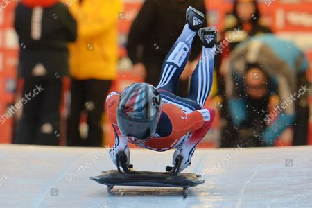 Shelley Rudman Shelley Rudman from Great Britain jumps on her skeleton during her first run in the women's Skeleton World Cup race in Innsbruck, Austria, Friday, Jan. 17. 2014