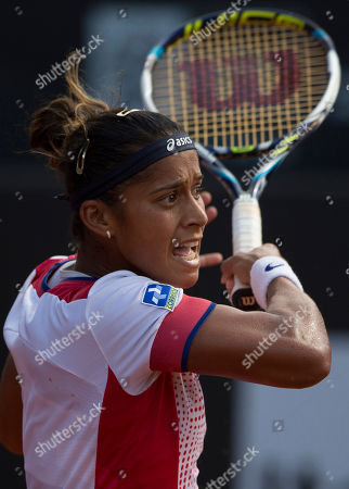 Teliana Pereira Teliana Pereira of Brazil reacts during her match with Klara Zakopalova of Czech Republic at the Rio Open tennis tournament in Rio de Janeiro, Brazil
