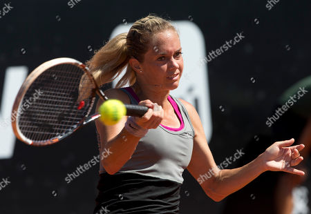 Klara Zakopalova Klara Zakopalova of the Czech Republic returns to Kurumi Nara of Japan during the final match at the Rio Open tennis tournament in Rio de Janeiro, Brazil, Sunday, Feb.23, 2014