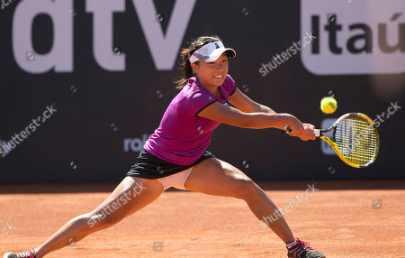 Kurumi Nara Kurumi Nara of Japan, returns the ball to Klara Zakopalova of the Czech Republic during the finals at the Rio Open tennis tournament in Rio de Janeiro, Brazil, Sunday, Feb.23, 2014