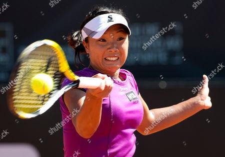 Kurumi Nara Kurumi Nara of Japan, returns to Klara Zakopalova of the Czech Republic during the final match at the Rio Open tennis tournament in Rio de Janeiro, Brazil, Sunday, Feb.23, 2014