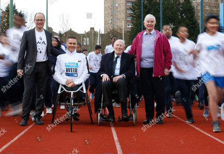 Roger Bannister, Diane Charles, David Weir, Hugh Brasher Former British athletes Sir Roger Bannister, second right, Diane Charles, right, paralympic champion David Weir, second left, and event Director Hugh Brasher pose for a picture during the launch of the Westminster Mile run, to celebrate the 60th anniversary of Bannister's record of being the first man to run a sub-four minute mile and Diane Leather's (now Diane Charles) record of being the first woman to run a sub-five minute mile in May 1954, at Paddington Recreation Ground in London, . The Westminster Mile run is to be held in May 2014 through the streets of London