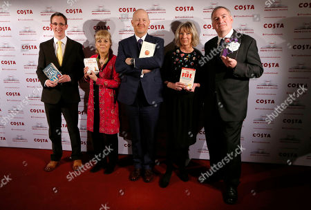 Nathan Filer, Kate Atkinson, Michael Symmons Roberts, Lucy Hughes-Hallett, Chris Riddell Costa Book of the Year shortlisted authors, from left, Nathan Filer, Kate Atkinson, Michael Symmons Roberts, Lucy Hughes-Hallett and Chris Riddell pose with their books during the award ceremony in London